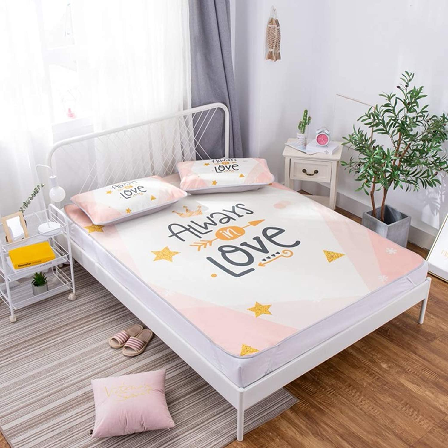 Ice Silk Seat Three-Piece Folding Washable Soft Mat 1.8 M 180  200cm Double Bed Three-Piece Mat (color   Pink, Size   150  200cm)