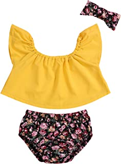 Infant Baby Girls Clothes Short Sleeve Off Shoulder Top+Floral Shorts+Headband Clothes Set