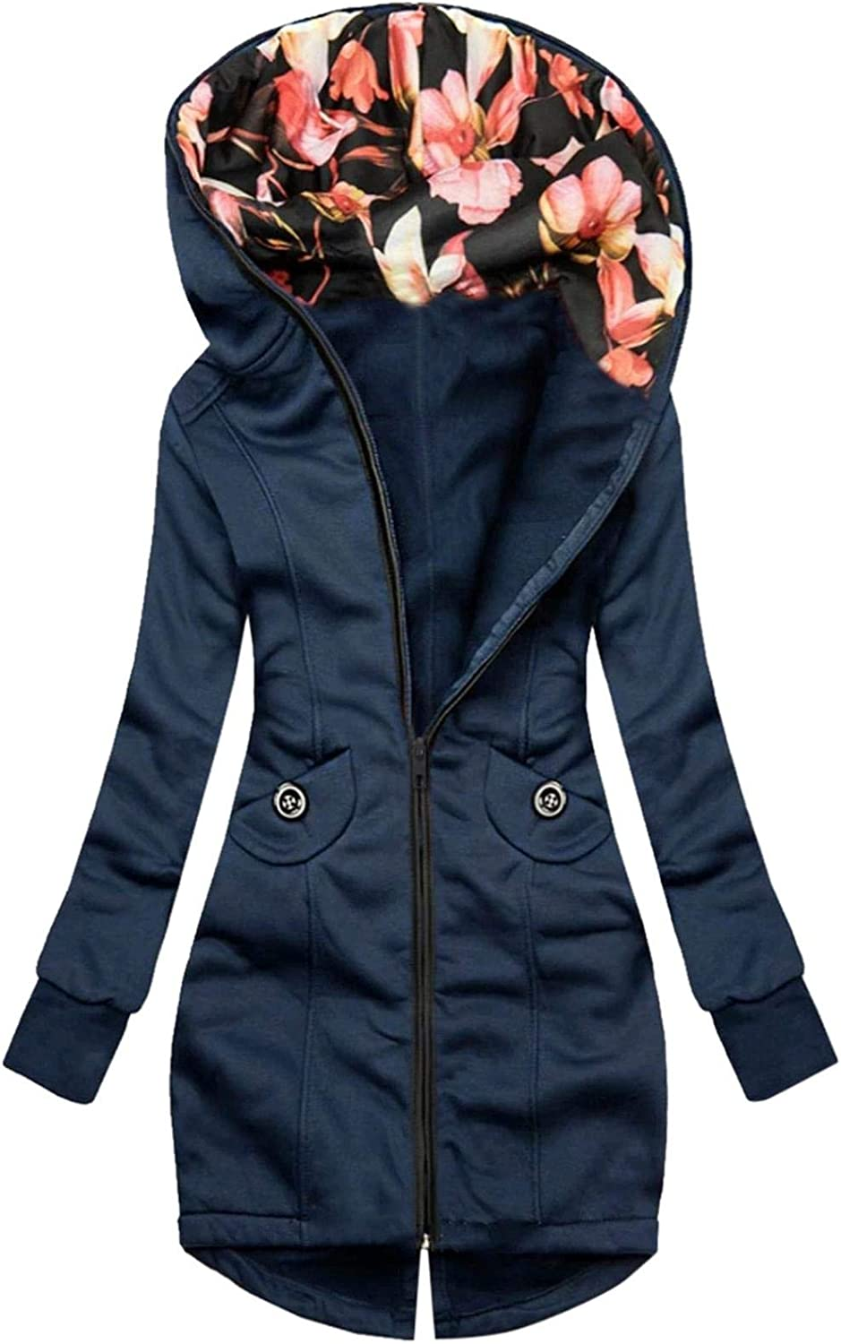 Smileyth Womens El Paso Mall Solid Color Long Coat 70% OFF Outlet Floral Hoodie Prin Fashion