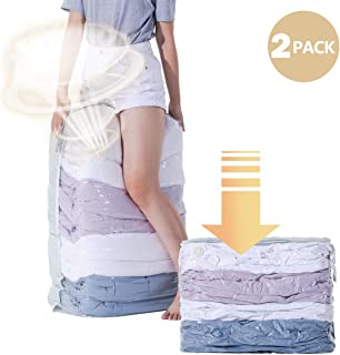 CLEVHOM Vacuum Storage Bags,No Pumps Need, 80% More Storage, Space Saver Bags for Bedding, Pillows, Towel, Blanket, Clothes (Cube -2 Pack) 31.5 X39.4 X15 Inch