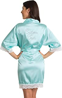 Zynotti Women Satin Robe with White Lace Trim, and Custom Name, Title, Text or Wording of Your Choice in Clear Rhinestone