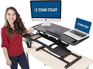 Stand Steady Flexpro Hero Dual Level Standing Desk - Easily Sit or Stand in Seconds - Large Work Space w/Removable Extra Level for Keyboard & Mouse (Large (37