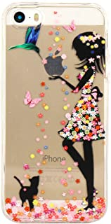 iPhone 5 5S Case, JAHOLAN Amusing Whimsical Design Clear Bumper TPU Soft Case Rubber Silicone Cover for iPhone 5/5S/SE - Flower Small Girl