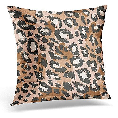 Asekngvo Funda de Almohada Decorativa Leopardo Negro Patrón de Piel de Animal Marrón Abstracto Funda de Almohada Cuadrada Decoración para el Hog