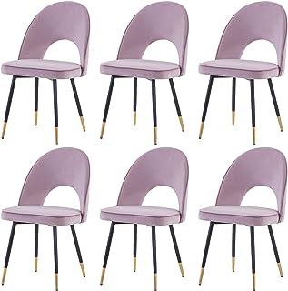 Greneric Juego de 6 sillas de comedor de terciopelo rosa con asiento y respaldo con patas de metal doradas y patas de metal para cocina, restaurante y salón (morado claro, 6 unidades)
