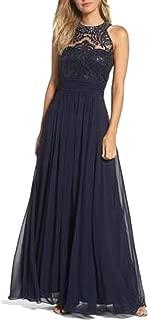 Women.Halter Gown with Embroidered Neckline Plain Navy