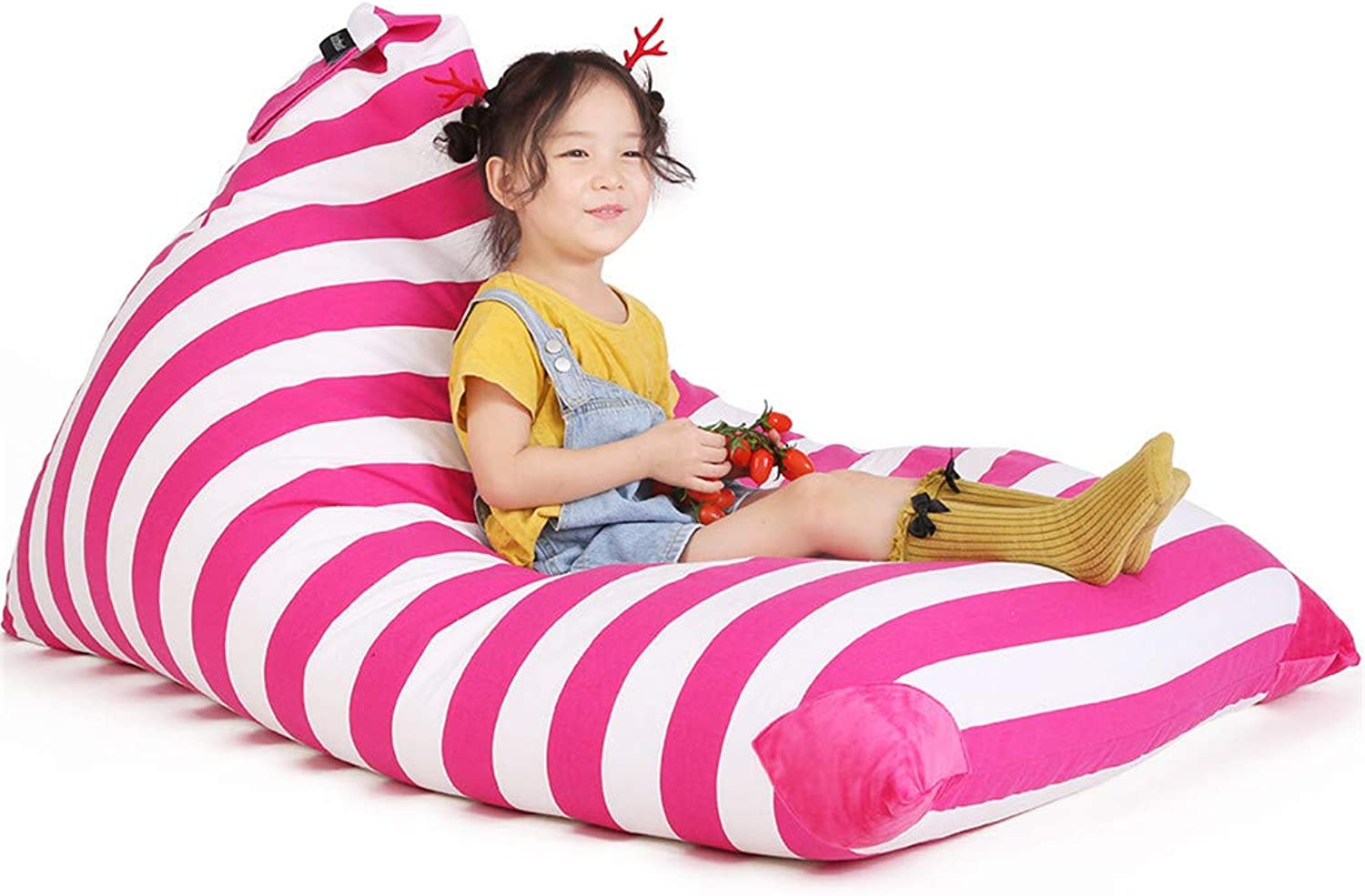 Stuffed Animal Bean Bag Chair for Kids and Adults. Premium Canvas Stuffed Seat - Cover ONLY(White Pink Stripe 200L 52 Gal)