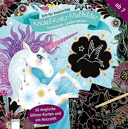 Funkelnde Zauberwesen. Krickel-Kratz-Malbilder: Zeit für Kreativität: 8 magische Glitzerkarten und ein Holzstift