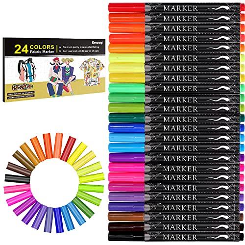 Fabric Marker, Emooqi 24 Colors Textile Marker , No Bleed Fabric Pen Permanent...