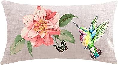 ITFRO Enjoy Summer Vintage Floral Flowers Beautiful Hummingbird Waist Lumbar Cotton Linen Throw Pillow Case Cushion Cover Long Oblong 12x20 inches