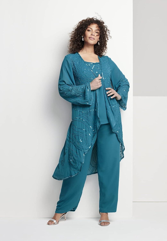 1920s Style Dresses, 20s Dresses Roamans Womens Plus Size Three-Piece Beaded Pant Suit Sheer Jacket Formal Evening Wear  AT vintagedancer.com