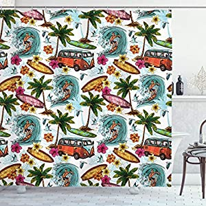 "Ambesonne Ocean Shower Curtain, Hawaiian Surfer on Wavy Deep Sea Retro Style Palm Trees Flowers Surf Boards Print, Cloth Fabric Bathroom Decor Set with Hooks, 75"" Long, White Teal"