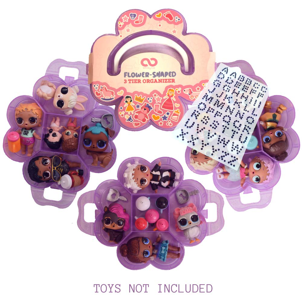 XfinityCo LOL Flower Shaped Storage Case Customizable Adjustable Organizer Case Stackable 3 Tier - 15 compartments Perfect for Dolls and Small Collectible Toys - Toys not Included - Purple Glitter