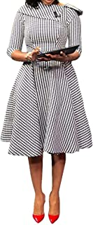 VERWIN Short Sleeve Knee-Length Pullover Plaid Women's Bodycon Dress Retro Dress