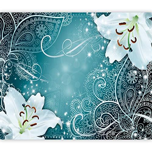 murando Fototapete Blumen Lilien 400x280 cm Vlies Tapeten Wandtapete XXL Moderne Wanddeko Design Wand Dekoration Wohnzimmer Schlafzimmer Büro Flur Ornament türkis blau b-A-0522-a-b