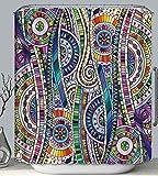 PSB Psychedelic Art Fabric DUSCHVORHANG mit Haken Buntes Design Modern