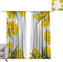 Yellow Flower Blackout Curtain Abstract Frame Yellow Tulip and Blue Forget Me Knot Blooms Bouquets 2 Panel Sets W52 x L84 Inch Mustard Fern Green