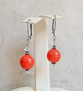 Watermelon Light Red 12mm Round Dolomite Aurora Borealis Made with Swarovski Crystal Stainless Steel Leverback Simple Drop Dangle Earrings Gift Idea