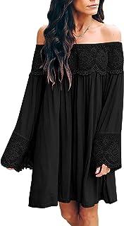 ZANZEA Vestidos Mujer Verano Casual Tops Cortos Tallas Grandes Manga Larga Blusa Playa Fiesta Fuera Hombro Camisetas Encaj...