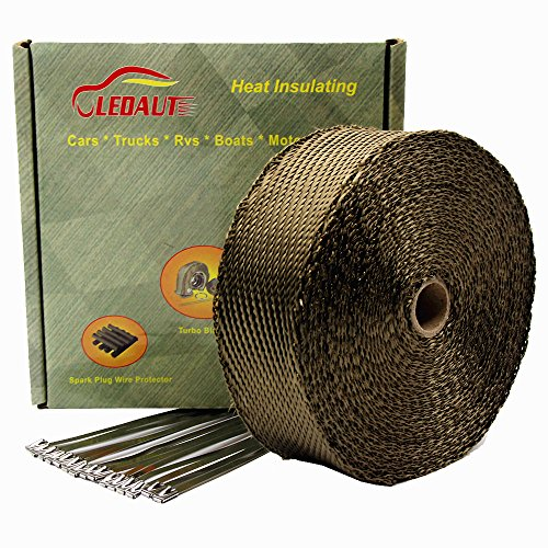 "LEDAUT 2""x 50' Twill Weave Motorcycle ATV Titanium Exhaust Heat Shield Wrap with 11.8"" Locking Ties (Pack of 15)"