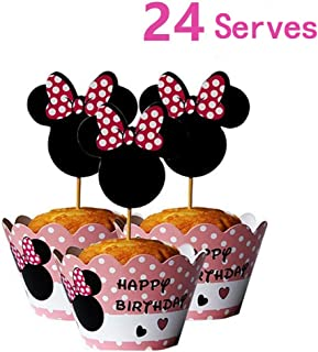 24 Serves Mickey Mouse Minnie Cupcake Toppers and Wrappers Birthday Cake Decorations for Mickey Mouse Minnie Themed Party Baby Shower Supplies and favors