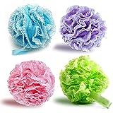 Lote de 2 esponjas de baño suaves y extradensas de flor de lis, para exfoliar el cuerpo
