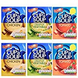Bachelors Instant Cup A Soup Selection Tomate, crema de verduras, sabores de pollo, 6 cajas
