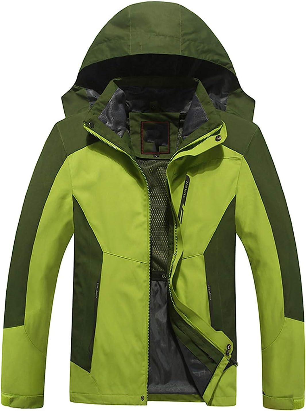Uaneo Mens Casual Detachable Hood Waterproof Fleece Lined Outdoor Mountain Jackets(Green-XXL)