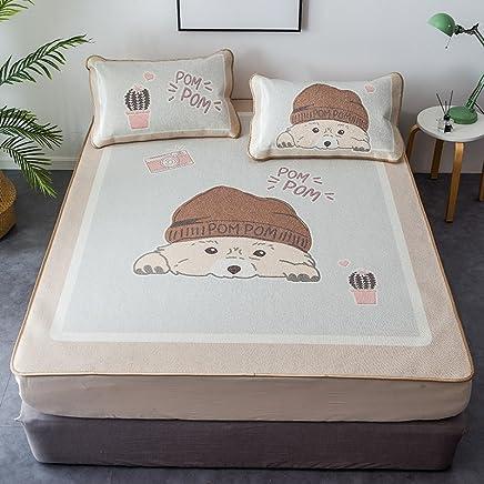 南极人 凉席1.8m床可水洗折叠冰丝席三件套1.5米夏季学生宿舍空调软席子 萌萌狗 1.8m(6英尺)床