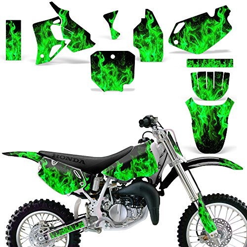 Wholesale Decals MX Dirt Bike Graphics kit Sticker Decal Compatible with Honda CR80 1996-2002 - Flames Green
