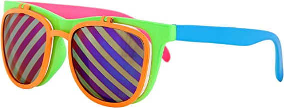 Flip Up Neon Hipster Costume Glasses for Men by elope