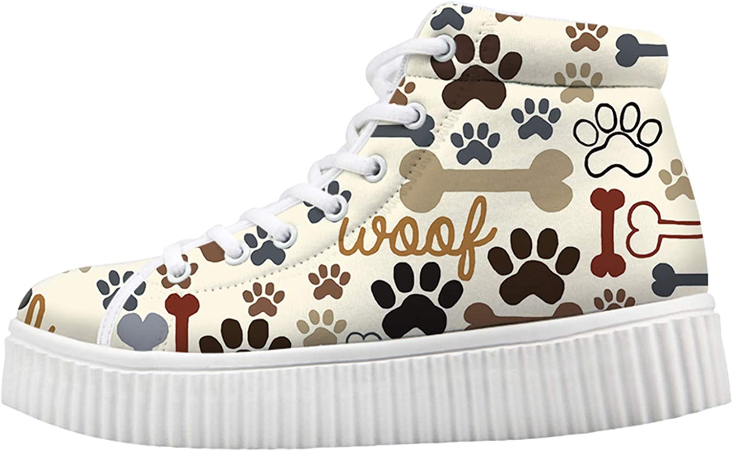 Dog sold out Bones Paw shop Print Cream Color for Fashion Sneakers Women Wedge