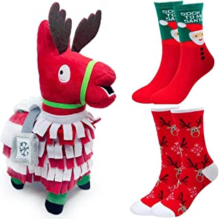 ALLYK Christmas Plush Package and Two Pairs of Socks, Special Holiday Plush Llama Squeeze Toy Doll, Troll Stash Animal Alpaca Santa Claus Reindeer, Stuffed Loot Supply Gift (Pack Christmas)