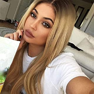 OLEY Hair Yaki Straight L Part Lace Front Wig Ombre Brown Roots to Honey Blonde Synthetic Wig with Deep Side Parting Long Straight Lace Wigs for Women