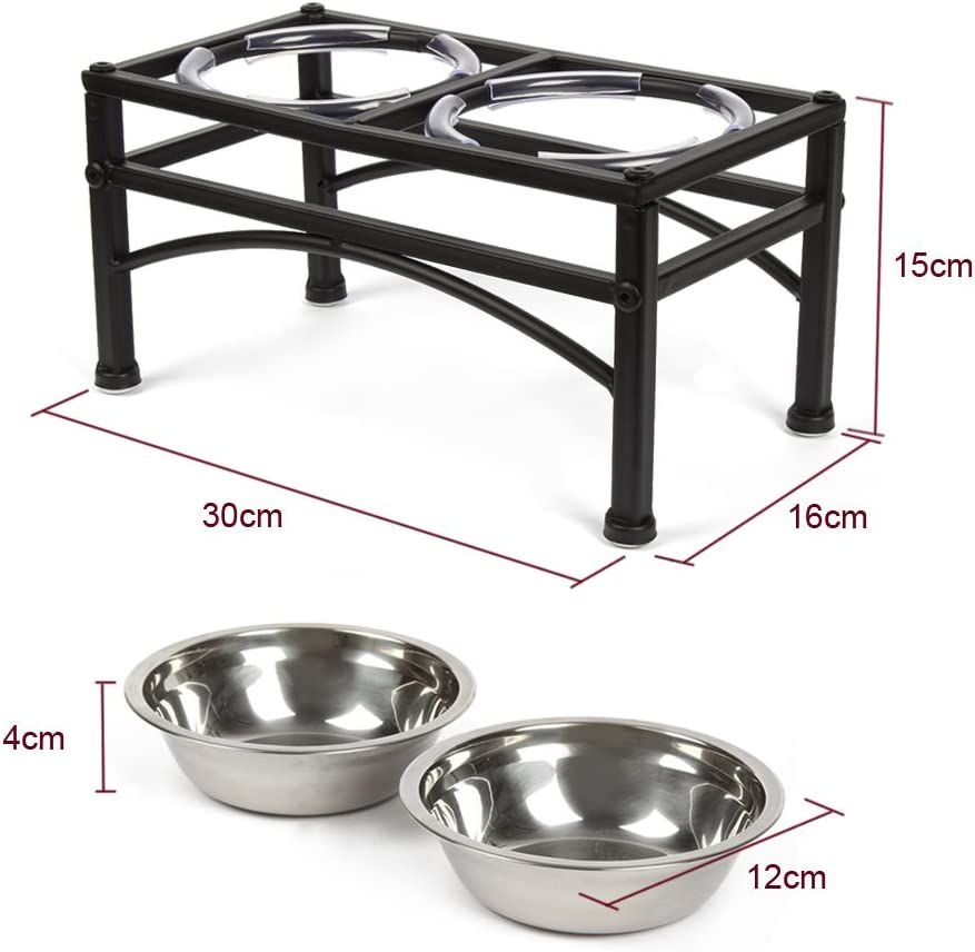 Funkeen Portarrollos elevados de acero inoxidable para perros peque/ños o gatos peque/ños