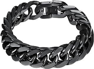 PROSTEEL Stainless Steel Franco Chain Bracelet, Trendy Chunky Bracelets for Men Women, Black/18K Gold Plated, W: 8mm/12mm/...