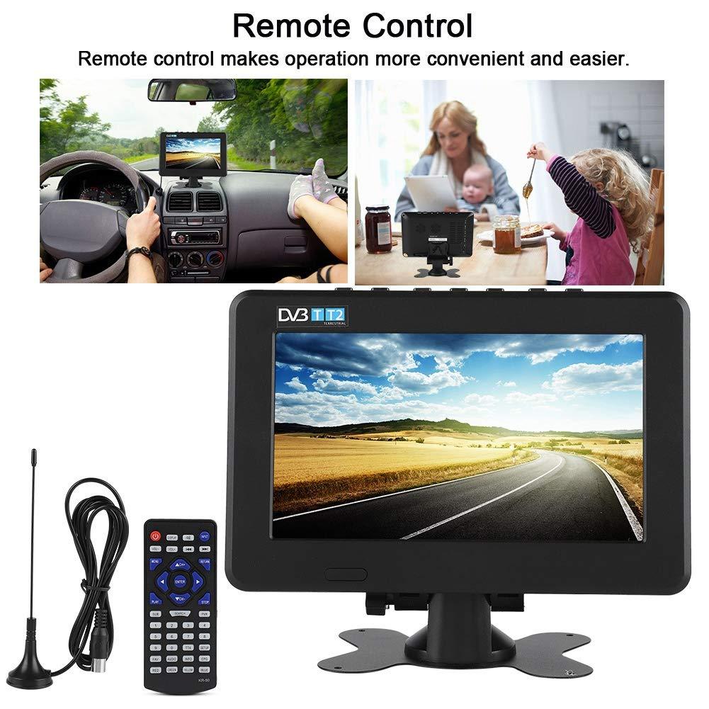 ASHATA Televisor Portátil,TV Digital Portátil,1080P Televisor DVB-T / T2 con Grande Pantalla LED,Pequeña Televisión para Interior y Exterior,para Coche,Dormitorio, Cocina,Caravana(7 Inch): Amazon.es: Electrónica