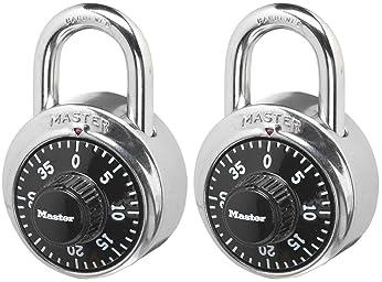 Master Lock 1500T Locker Lock Combination Padlock, 2 Pack, Black
