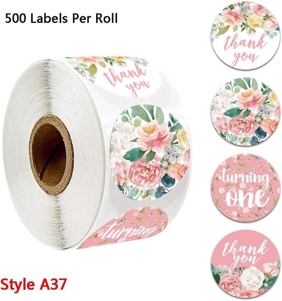 PTMD 500pcs 4 o 8 disegni floreali Love Thank You Love Stickers Bomboniere Matrimonio Fatti A Mano Scrapbooking Confezione Regalo Sigillo Etichette Cancelleria Decorazione