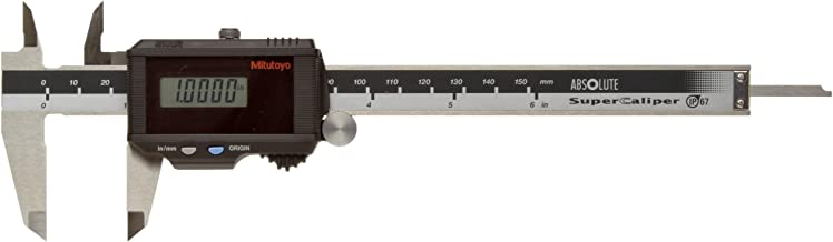 Mitutoyo 500-784CAL SuperCaliper Absolute Digital Caliper with Calibration, Stainless Steel Jaws, Solar Powered, Inch/Metric, 0-6