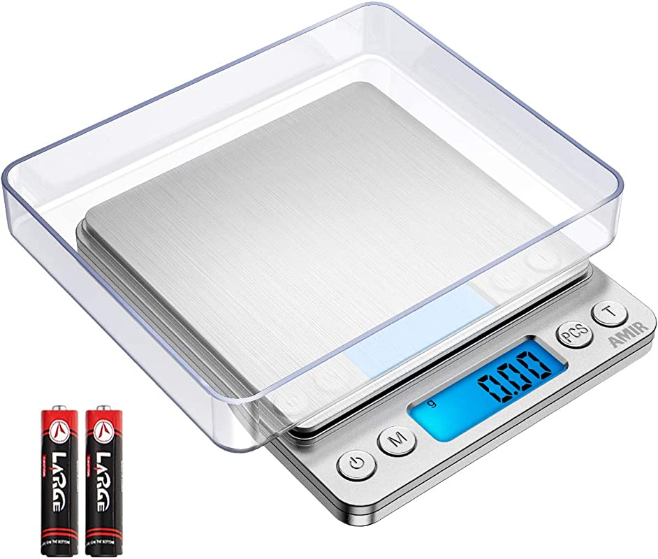 AMIR Upgraded Digital Kitchen Scale 500g 0 01g Mini Pocket Jewelry Scale Cooking Food Scale Back Lit LCD Display 2 Trays 6 Units Auto Off Tare PCS Stainless Steel Batteries Included
