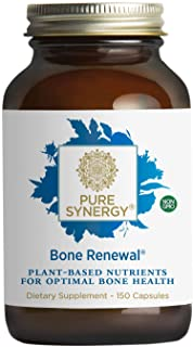 Pure Synergy Bone Renewal (150 Capsules) Bone Supplement w/ Plant-Based Calcium, Magnesium, D3, K2, Trace Minerals