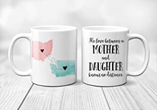 Two State Mother Daughter Mug | Gift Wrap Included | Gift For Mom | Gift For Her | Mother Present | Mothers Day Gift | Long Distance Map Gift | Unique Mom Gift | Gift for Daughter