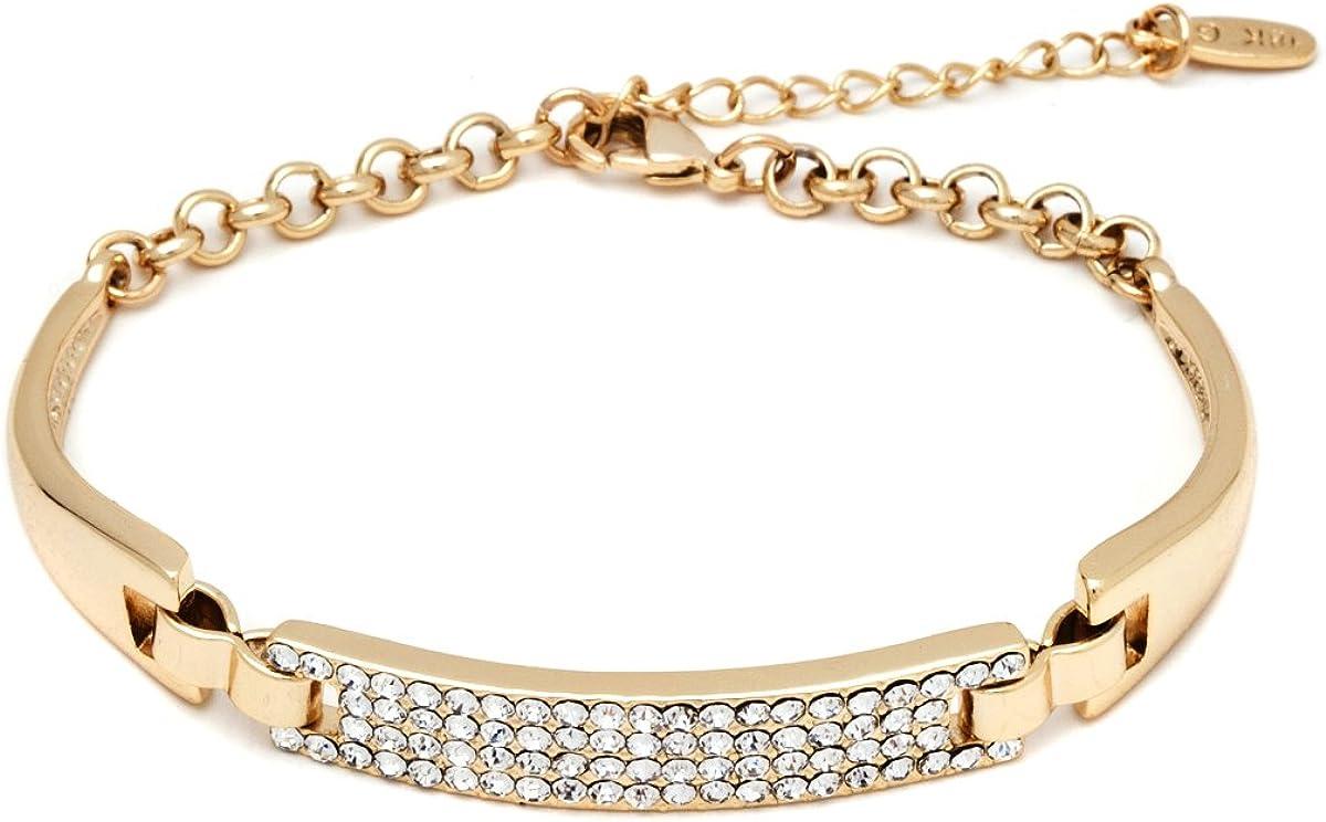 Barzel 18K Gold, Rose Gold Plated or White Gold Plated Bling Crystal ID Bracelet