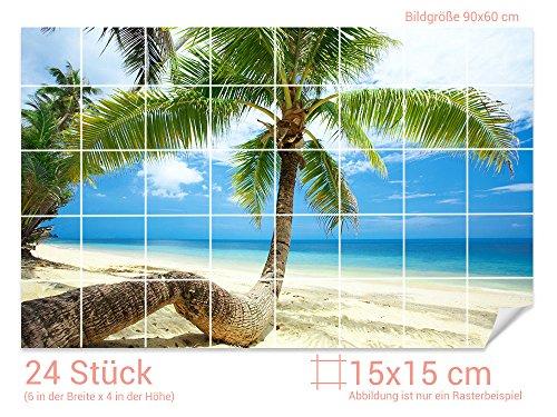GRAZDesign Fliesenaufkleber Palmen/Strand für Kacheln Bad-Fliesen mit Fliesenbildern überkleben (Fliesenmaß: 15x15cm (BxH)//Bild: 90x60cm (BxH))
