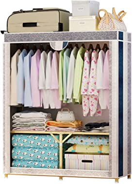 DR - Cloth Coat Rack Hanger Storage Cabinet Cabinet Assembly Hanging Wardrobe Locker Foldable Wardrobe