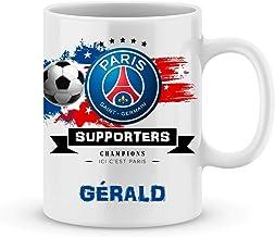 Mug de foot PSG à personnaliser avec votre prénom - Cadeau personnalisé foot ligue1 Paris Saint Germain - Cadeau personali...