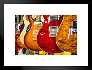 Poster Foundry Choices Choices Electric Guitars Photo Art Print Matted Framed Wall Art 26x20 inch