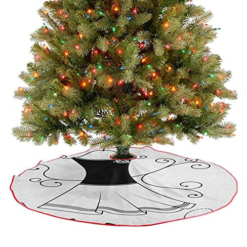 Homesonne Tree Skirt Classical Old Fashioned Garment Floral Swirls Hat Purse Necklace Decoration Ornaments Your Cat May Enjoy Laying on The Tree Skirt Charcoal Grey White 36 Inch
