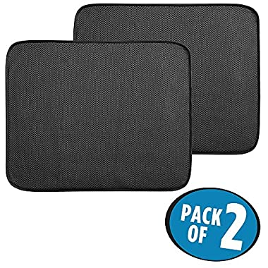 mDesign Kitchen Countertop Absorbent Dish Drying Mat - Pack of 2, 18  x 16 , Black/White